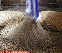 Pouring the wood pellets